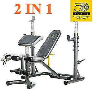 Gold S Gym Workout Bench Power Rack Xrs 20 Olympic Press