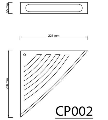 Eckregal für die Dusche mit Reling 226x226 mm ABS+Edelstahl//Chrom SMART-Serie