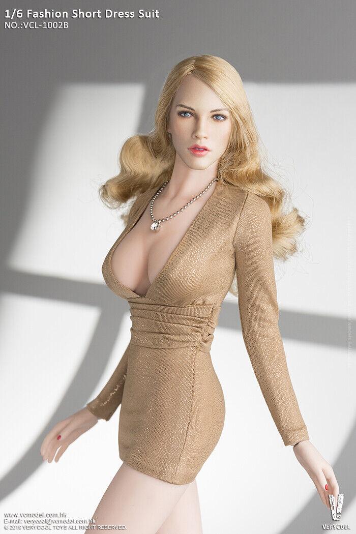 1 6 VERYCOOL VCL-1002B Female Champagne Fashion Short Dress Suit&Head Sculpt