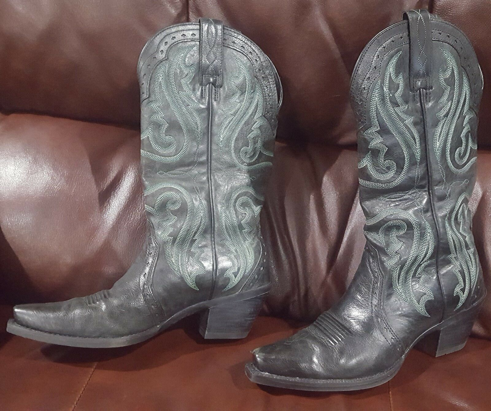 Ariat Heritage Vintage  X Toe Black/Green Western Boots -  Sz 6.5 B