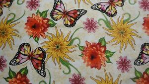 Dahlia-By-Blank-Quilting-Ivory-Background-BTY-Butterflies-Flowers