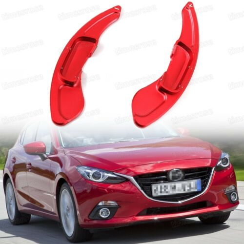Red Steering Wheel Paddle Shift Gear Extension CNC for Mazda 3 2014 2015 2016