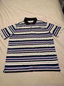 NIKE-GOLF-Dri-Fit-Polo-Shirt-Short-Sleeve-Mens-XL-Purple-Black-White-Stripped