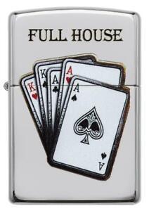Zippo-Full-House-Poker-Karten-Design-chrome-Lighter-Feuerzeug