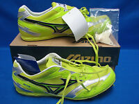 Mizuno Osaka 8km-86409 Spikes Running Shoes Sixe 11.5 Neon Yellow & Green