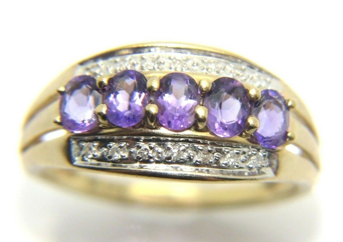 Wouomo Donna 9ct oro Giallo 9 Carati Anello Anello Anello Di Diamanti & Ametista Misura UK N 1 2 dc0e3f
