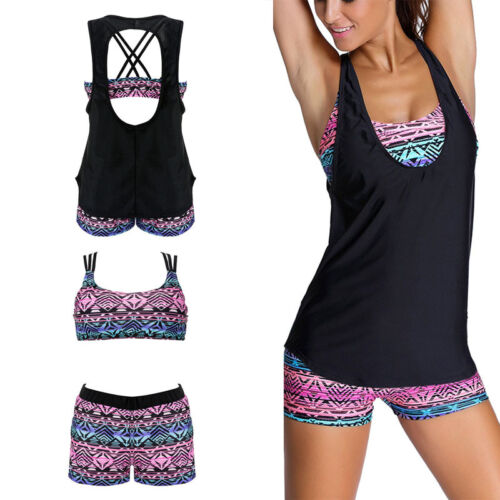 Damen Badeanzug Bademode Tankini Bikini Set Push Up Schewimmanzug Sommer 34-48