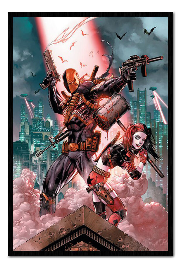 DC Comics Deadshot and Harley Poster Framed Cork Pin Board With Pins