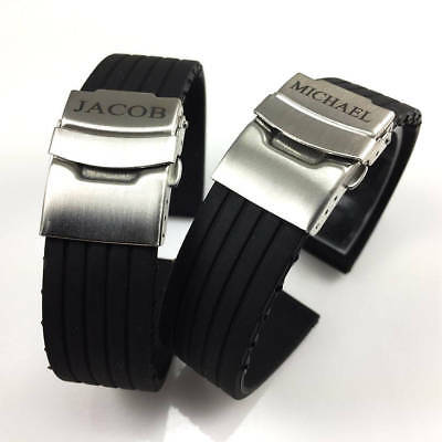 Name Engraved Personalized Rubber Silicone Watch Band Double Locking Buckle 4011 Ebay