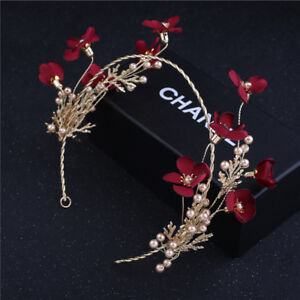 e36c39d44b28 Image is loading Burgundy-Satin-Flower-Pearls-Wedding-Bridal-Headband-Crown-