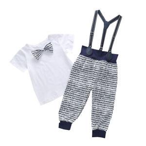 Newborn-Kids-Baby-Boy-Clothes-Outfit-Shirt-Tops-Bib-Pants-Overalls-2PCS-Set