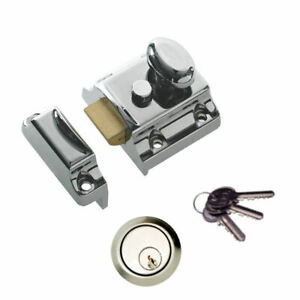Details about Chrome Front Door Lock Night Latch Rim Cylinder Narrow  Traditional 7028 +3 Keys