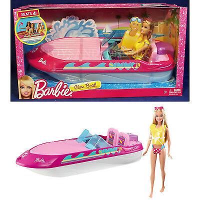 New BARBIE GLAM BOAT with CANOPY Speedboat Barbie in Bikini BOAT FLOATS Seats 4