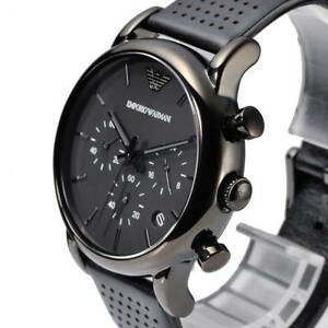 10c6d2486dd Image is loading NEW-EMPORIO-ARMANI-AR1737-LEATHER-STRAP-MENS-WATCH