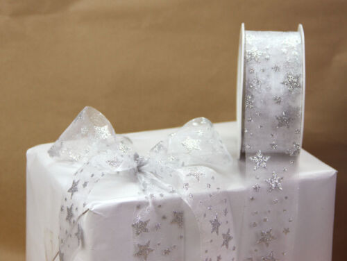 20m Roll Christmas Organza Glitter Star Ribbon 38mm Great for Wrapping /& Bows