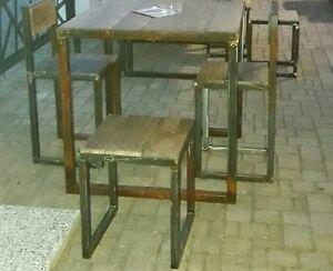 Sgabello in ferro e legno massello in stile industriale vintage h 45