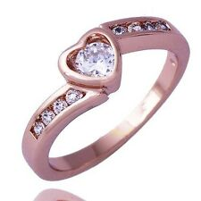 Stylish Womens Rose Gold plated Clear crystal Stone Heart Band Ring Size 6