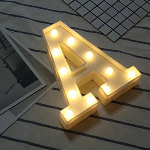 26 Alphabet LED Letter Lights Light Up Plastic Wedding Birthday Party 3D Decor