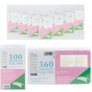 The-Edge-Nails-ACTIVE-Half-Well-False-Nail-Tips-Refill-Packs-of-50-100-360-Tips