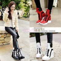 Womens Autumn High Top Trainers Platform Wedge Heels Sneaker Lace Up Punk Boots