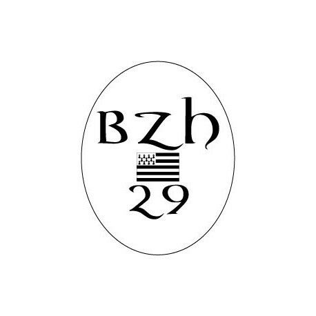 Autocollant 29 BZH drapeau Breton Breizh Bretagne logo 2 12 cm