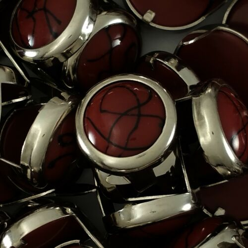 "71031-C37 1//2/"" Burgundy Black Gemstone Spots Round 2 Prongs Nickel Leather Craft"