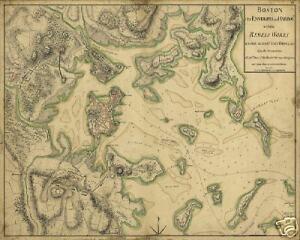 1775 Boston Harbor Revolutionary War Battle Antique Map | eBay