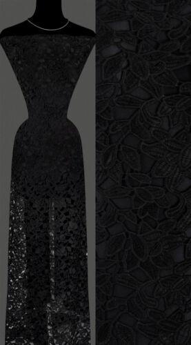 33,60€//m 50cm STOFF Gipürespitze Baumwollmischung Blumenmuster schwarz