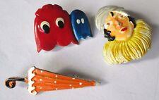 Original lot 3 broche bijou vintage en couleur femme parapluie pack man 181