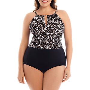 de9d9b6fb47 Details about Catalina Women's Plus-Size Slimming High-Neck Halter One-Piece  Swimsuit
