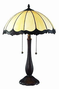 Image Is Loading Tiffany Style Victorian White Table Lamp 2 Light