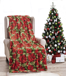 New-Ultra-Cozy-amp-Soft-Christmas-Holiday-Poinsetta-Plush-Warm-Throw-Blanket-50x60