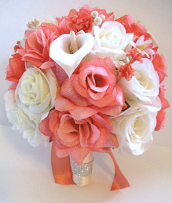 3 pc Wedding Bouquet Bridal Silk flowers CORAL CREAM CALLA LILY IVORY package