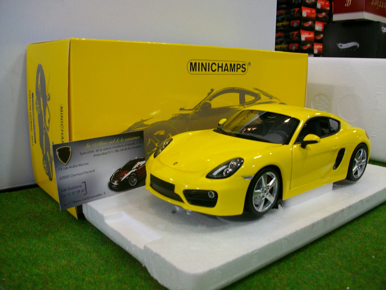 PORSCHE CAYMAN S 2013 yellow 1 18 MINICHAMPS 110062220 voiture miniature
