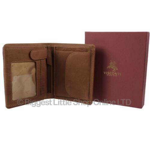 NEW Mens TAN LEATHER Bi-Fold WALLET Visconti Change Section Gift Box Oak Range