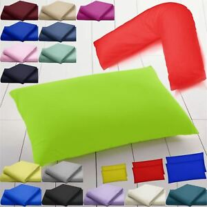 LUXURY-PILLOW-COVER-CASES-SET-ORTHOPAEDIC-SUPPORT-POLY-COTTON-PLAIN-DYED-BEDROOM