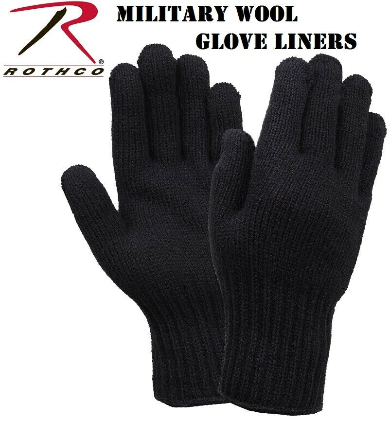 Black D-3A Military 70% Wool Blend Glove Liners - Made in the USA Rothco 8518