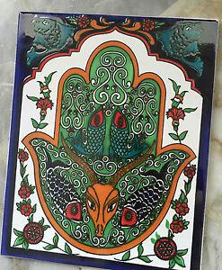 Fliesenbild / handbemalte Mosaikfliesen / Keramikfliesen<wbr/>, Hamsa Motiv, 20x25cm