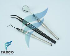 Examination Kit Basic Hygiene Tweezer Mirror Explorer Cleaning Tool Black