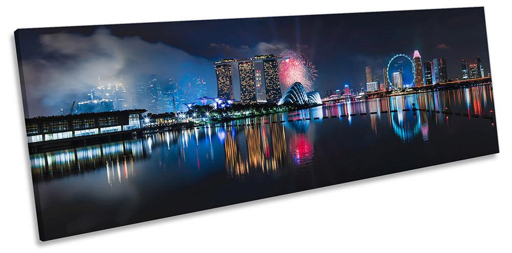 Singapore Skyline Fireworks Framed PANORAMA CANVAS Drucken Wand Kunst