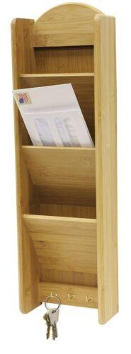Home Basics NEW Bamboo Letter Wall Holder Rack 3-Tier with Key Hooks LR01068