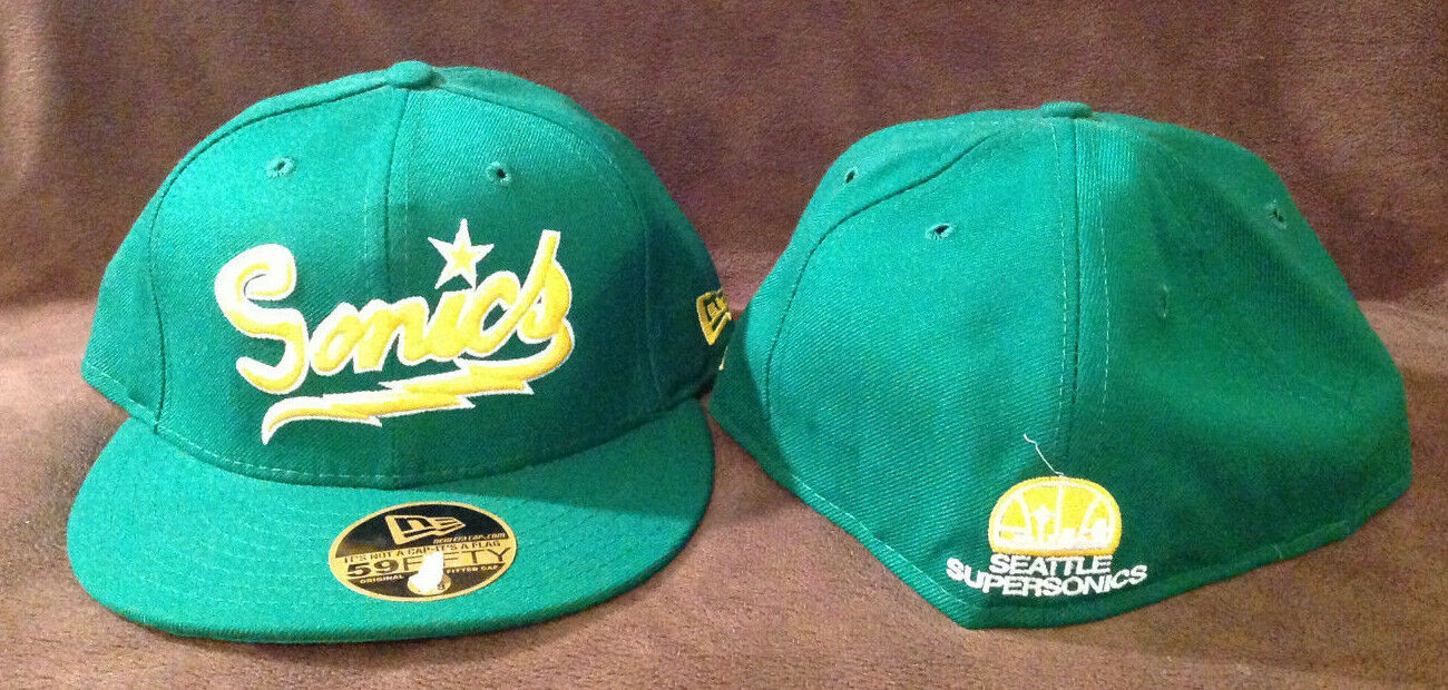 Seattle Sonics New Era 59Fifty NBA Fitted Hat SONICS SONICS Hat Retro Back Green Size 7 eb2897