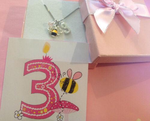 Chicas Lindas Bee 3rd Cumpleaños edad 3 Collar mantener bien en Caja De Regalo