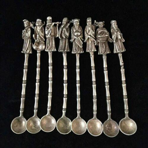 Full set Tibet silver Copper Handmade eight immortals Buddha Statue Spoon Ladle.