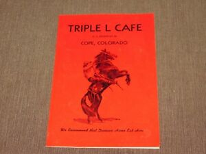 VINTAGE OLD DINING TRIPLE L CAFE COPE COLORADO RESTAURANT  MENU