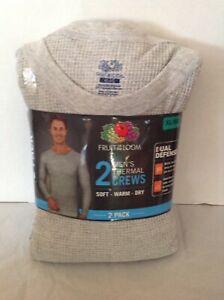 Fruit of the Loom Men's Dual Defense Thermal Crew Waffle Shirt Top Gray XL 2 Pk