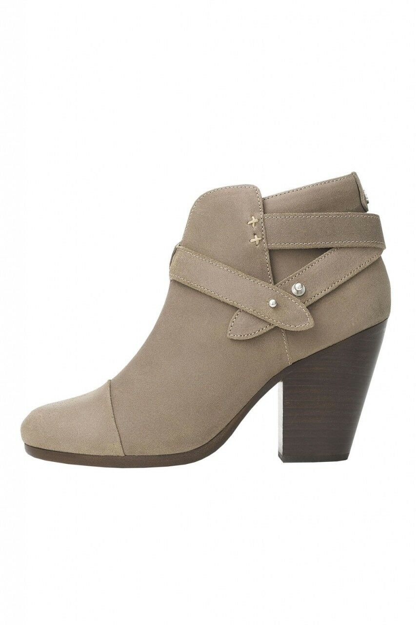 495 Rag & Bone HARROW Stone Buckle Boots Ankle Booties Taupe shoes 38.5 - 8