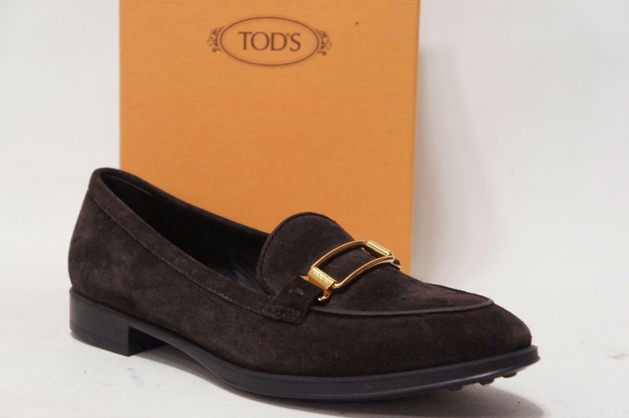 TOD'S SHOES GOMMA CLASSIC UF GANCIO BROWN SUEDE LEATHER SHOES TOD'S 37/7 $525 94caca