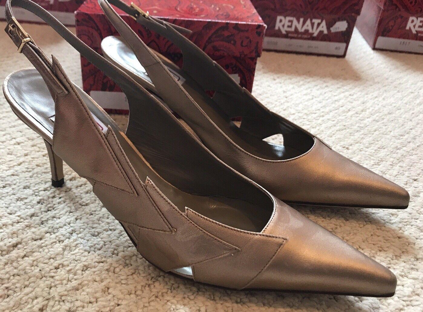Renata ORO Court Shoe 38 * Nuovo con Scatola * RRP  con dettagli di stampa animale