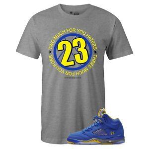 d263fbab4c8 Details about Men's Grey TWO THREE 23 Sneaker Tee to Match Jordan Retro 5  Alternate